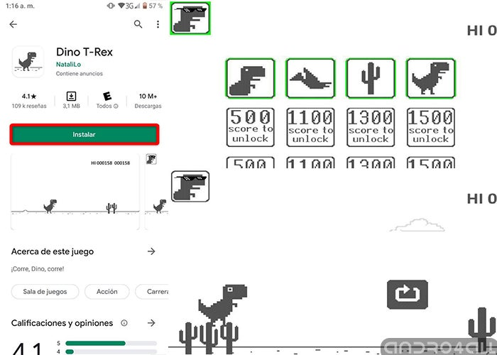 How to play the Google dinosaur game on mobile