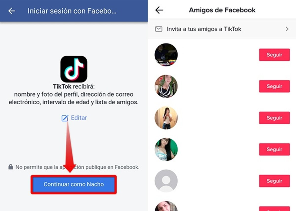 find someone on TikTok with no name from your Facebook friends