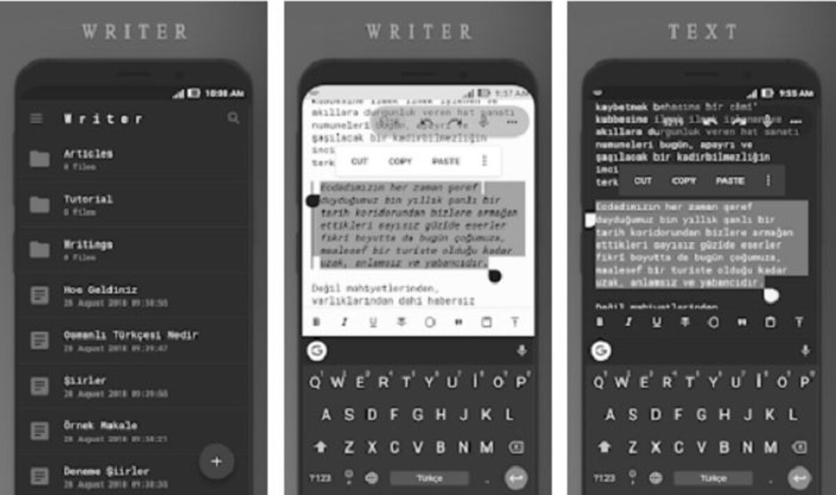 App Writer, write texts on Android