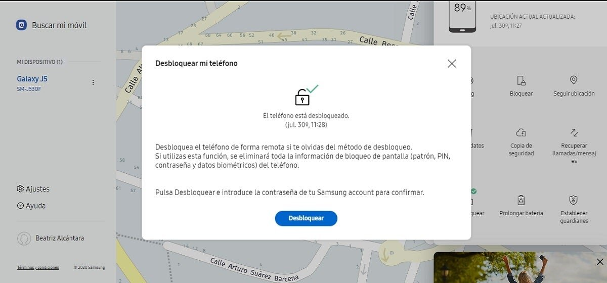Unlock Samsung mobile with Find My Mobile