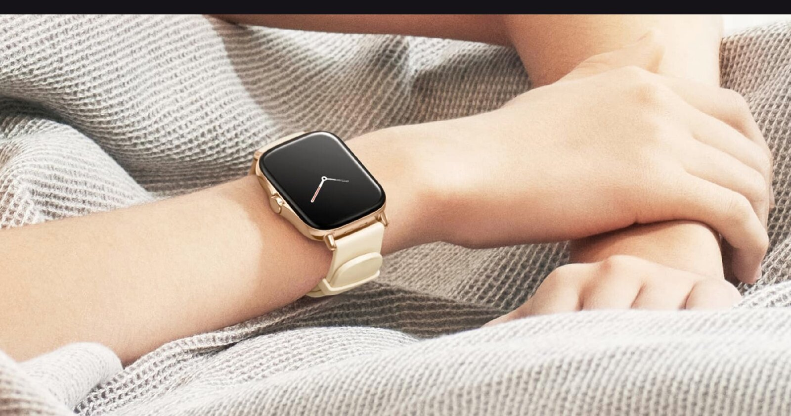 The Amazfit GTS 2 in gold color