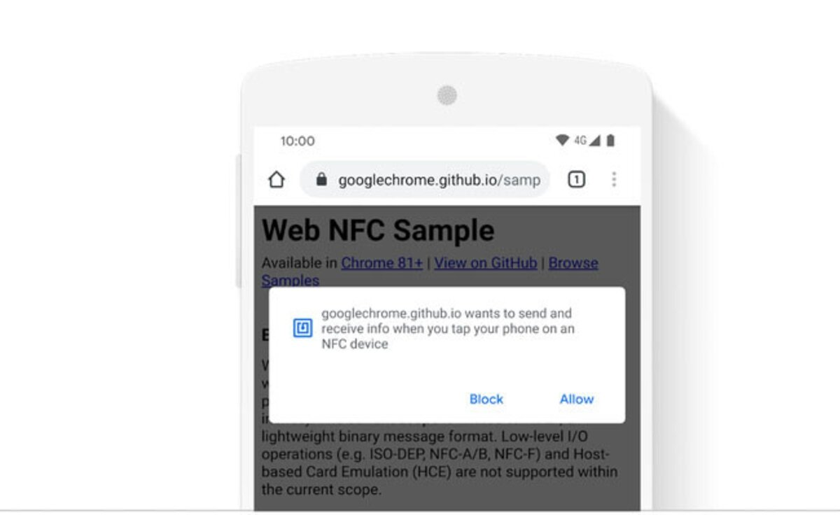 This is the pop-up window that will appear when we use Web NFC