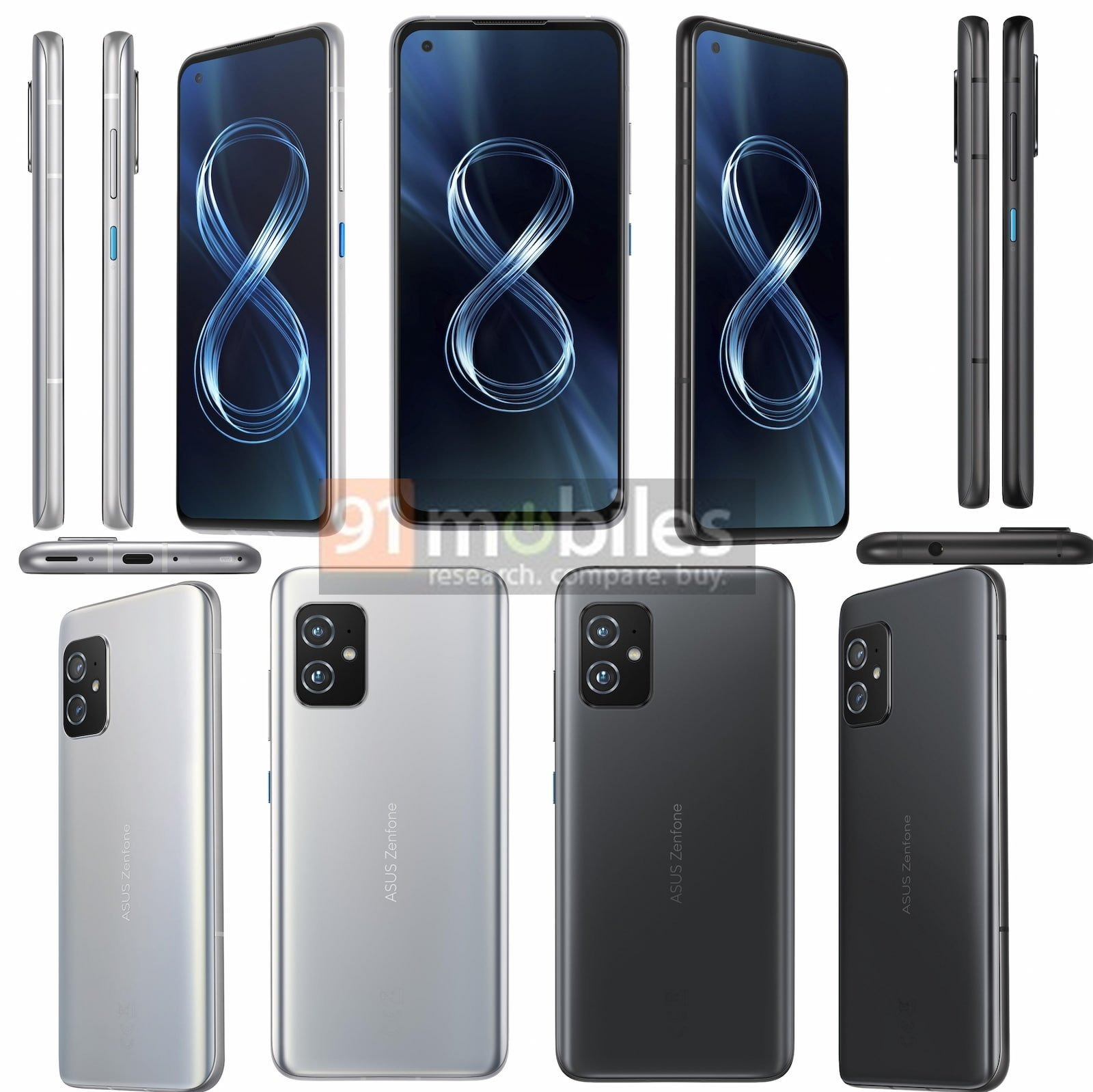 ASUS ZenFone 8, front and back