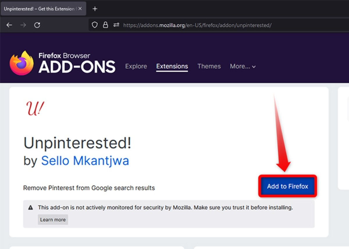 How to remove Pinterest from Google search results from Firefox